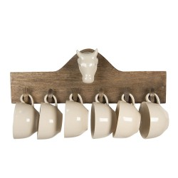 Wall rack with 6 mugs |...