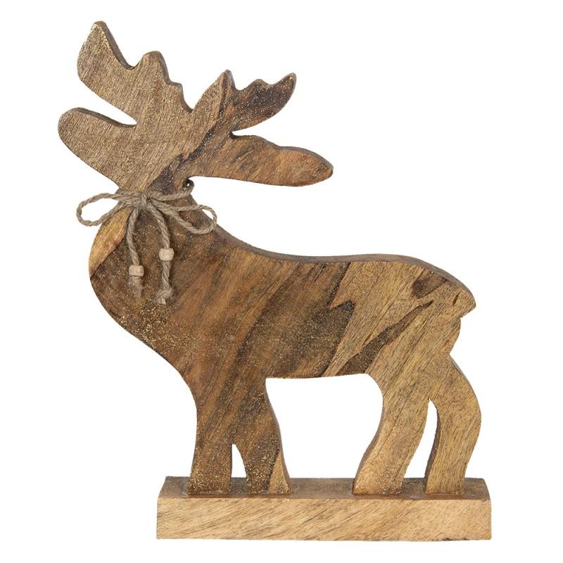 Clayre Eef Decoratie Rendier 6h1851 20 5 32 Cm Bruin Hout Decoratief Figuur Decoratieve Accessoires Woonaccessoires