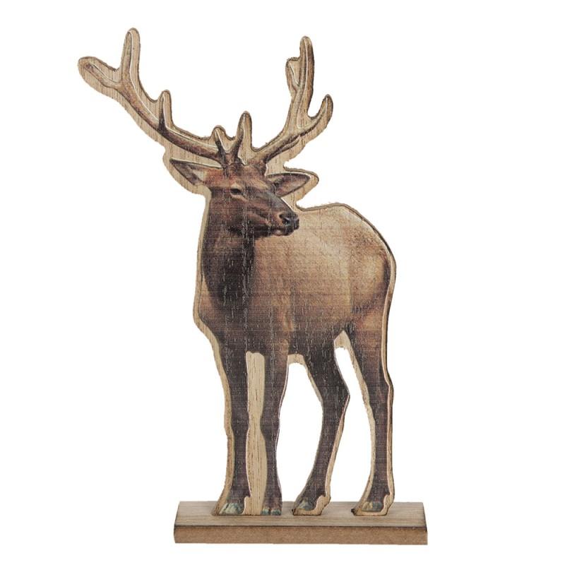 Clayre Eef Decoratie Rendier 6h1887 16 4 25 Cm Bruin Hout Decoratief Figuur Decoratieve Accessoires Woonaccessoires